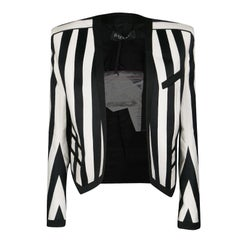 Balmain Monochrome Striped Open Front Blazer M