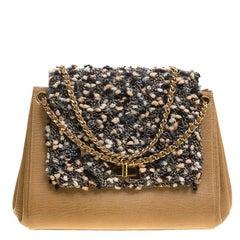 Chanel Beige Leather and Tweed Mademoiselle Accordion Flap Bag