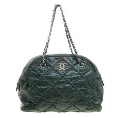 Chanel Green Quilted Crinkled Leather Ultra Stitch Satchel
