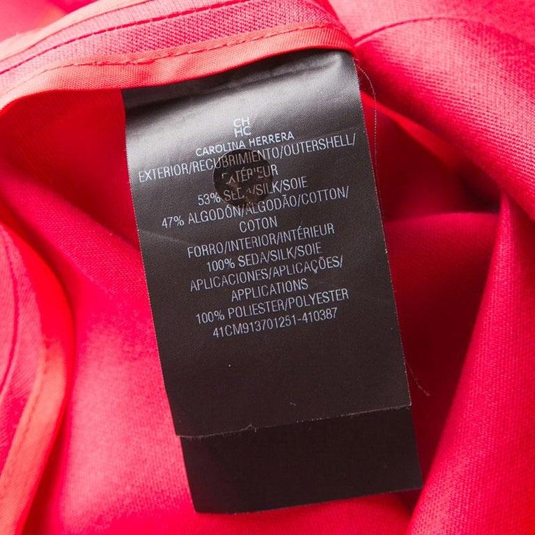 Women's CH Carolina Herrera Red Lace and Organza Sleeveless Sheath Dress S For Sale