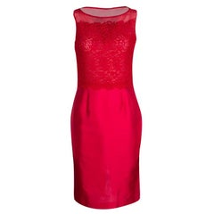 CH Carolina Herrera Red Lace and Organza Sleeveless Sheath Dress S