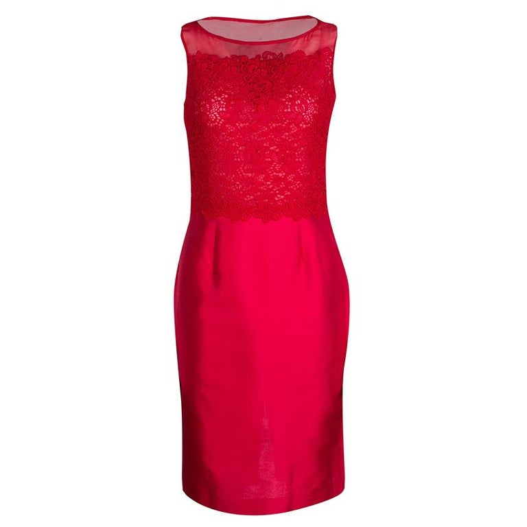 Ch Carolina Herrera Red Lace And Organza Sleeveless Sheath Dress S For