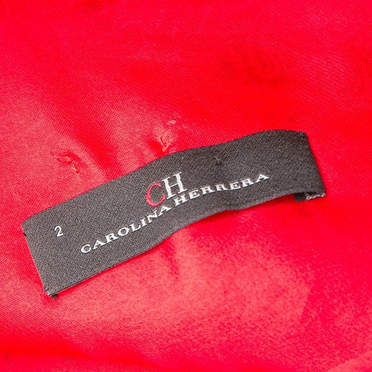 CH Carolina Herrera Red Lace and Organza Sleeveless Sheath Dress S For Sale 1