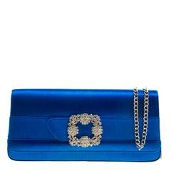 Manolo Blahnik Blue Satin Gothisi Crystal Buckle Clutch