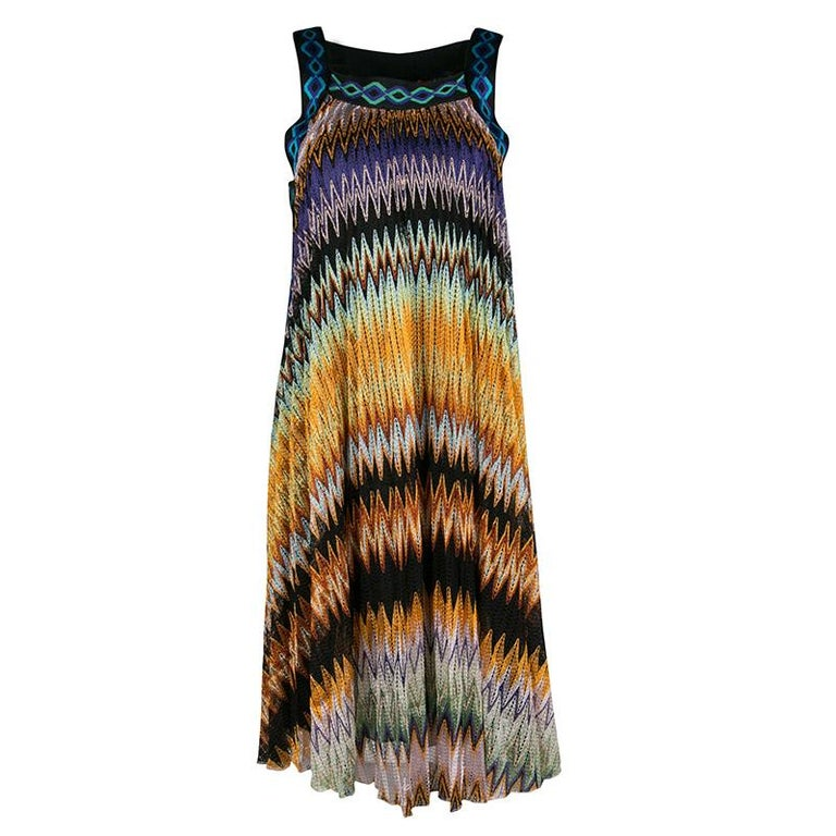 5ccff090395 Missoni Multicolor Perforated Textured Knit Sleeveless Dress S For Sale
