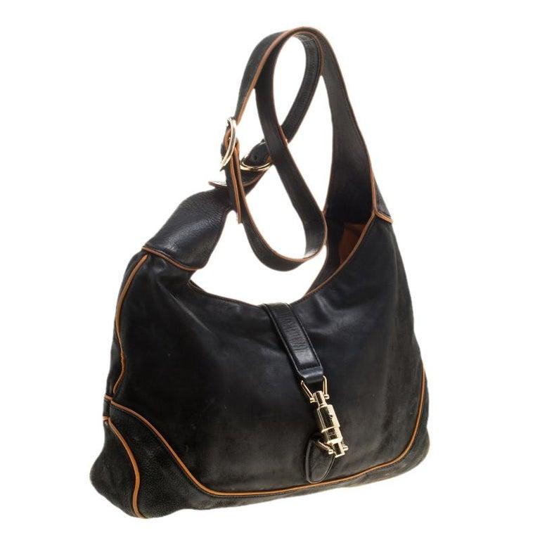 Gucci Black Leather New Jackie Shoulder Bag For Sale 2