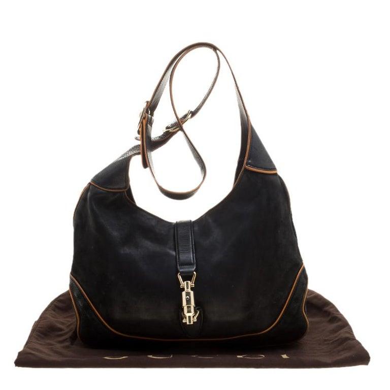 Gucci Black Leather New Jackie Shoulder Bag For Sale 8