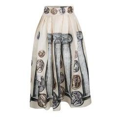 Dolce and Gabbana Beige Ancient Roman Print Silk Organza Skirt S