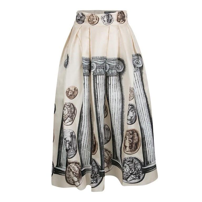 144180b686 Dolce and Gabbana Beige Ancient Roman Print Silk Organza Skirt S For Sale