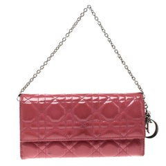 Dior Pink Cannage Patent Leather Wallet on Chain