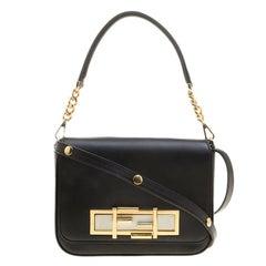 Fendi Black Leather 3Baguette Shoulder Bag