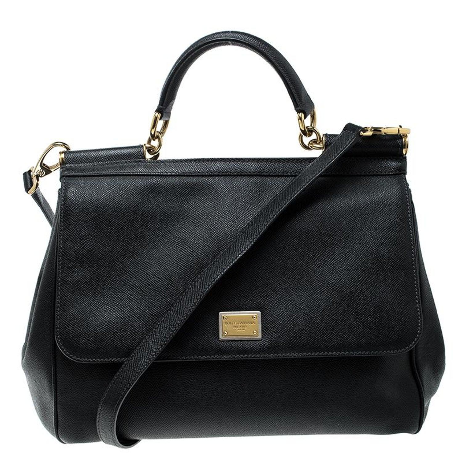 Dolce and Gabbana Black Leather Large Miss Sicily Top Handle Bag at 1stdibs 47dcab438ed57