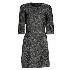 Dolce and Gabbana Grey Lurex Floral Jacquard Dress S