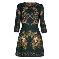 Dolce and Gabbana Bottle Green Floral And Key Print Embossed Jacquard Dress S