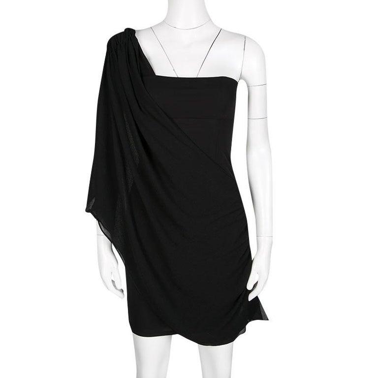 Alice Olivia Black Knit Draped Bara One Shoulder Mini Dress Xs For