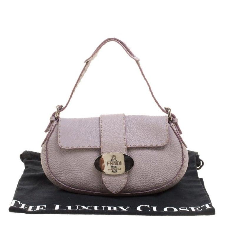 Fendi Lilac Leather Selleria Shoulder Bag For Sale at 1stdibs 38338912c1b15