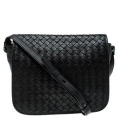 Bottega Veneta Black Intrecciato Leather Full Flap Crossbody Bag
