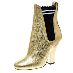 Fendi Metallic Gold Textured Leather Ankle Boots Size 35