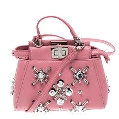 Fendi Pink Leather Micro Crystal Embellished Peekaboo Crossbody Bag