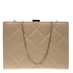 Carolina Herrera Beige Quilted Leather Frame Shoulder Bag