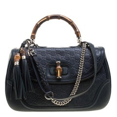 Gucci Navy Blue Guccissima Leather Large New Bamboo Tassel Top Handle Bag