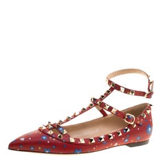 Valentino Red Stars Printed Leather T Strap Rockstud Ballet Flats Size 38