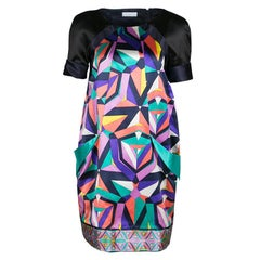 Emilio Pucci Geometric Printed Satin Pocket Detail Shift Dress S