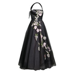 Oscar de la Renta Black Floral Embroidered and Appliqued Tulle Halter Gown M