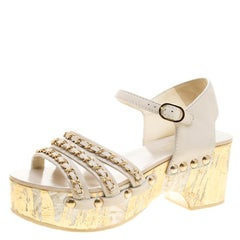 Chanel White Leather Chain Detail Ankle Strap Platform Sandals Size 37