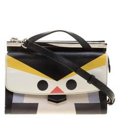 Fendi Black Textured Leather Mini Demi Jour Penguin Shoulder Bag