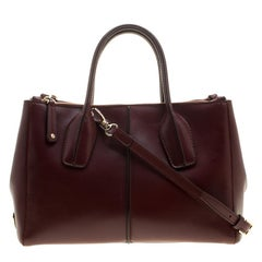 Tod's Burgundy Leather D-Styling Shopper Tote