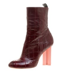 Louis Vuitton Maroon Eel Skin Patchwork Instinct Ankle Boots Size 38.5