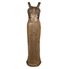 Gianfranco Ferre Dull Gold Embellished Sleeveless Evening Gown M