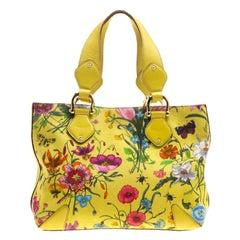 Gucci Yellow Multicolor Flora Canvas Tote
