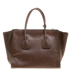 Prada Brown Leather Twin Pocket Double Handle Tote