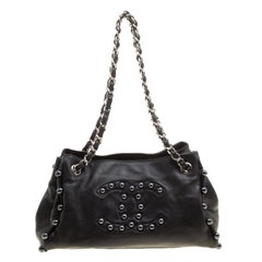 Chanel Black Leather Pearl Obsession Tote