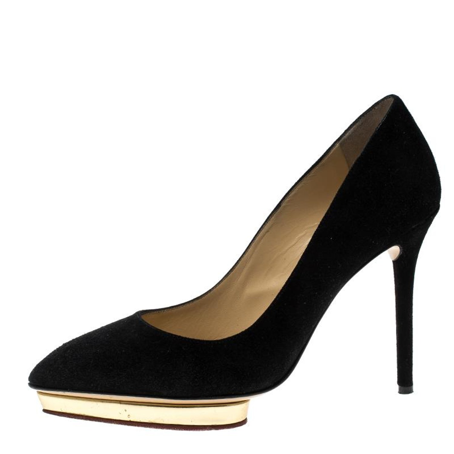 51a0900fc9cf Charlotte Olympia Black Suede Dotty Platform Pumps Size 37 at 1stdibs