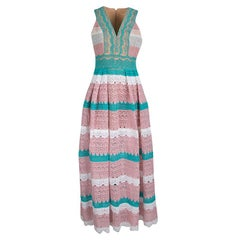 Zuhair Murad Multicolor Beadwork and Floral Lace Sleeveless Gathered Gown M
