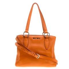 Miu Miu Orange Vitello Phoenix Leather Tote