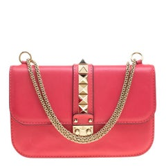 Valentino Hot Pink Leather Rockstud Medium Glam Lock Flap Bag