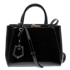 Fendi Black Patent Leather Small 2Jours Tote