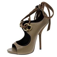 Giuseppe Zanotti Beige Leather Alien Open Toe Ankle Tie Up Sandals Size 39.5