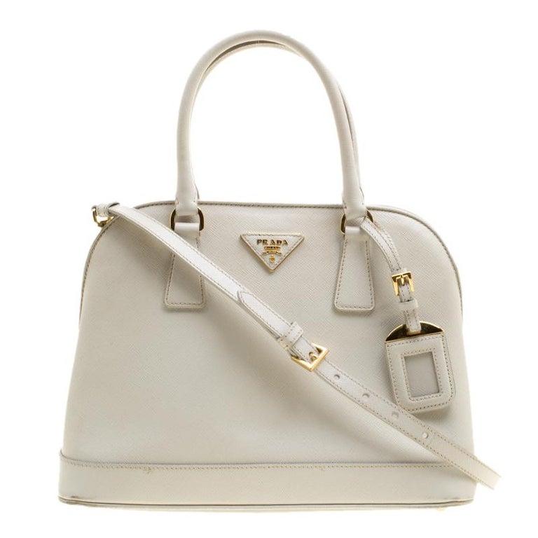 0ecc65acd4c3 Prada Off White Saffiano Lux Leather Promenade Tote at 1stdibs