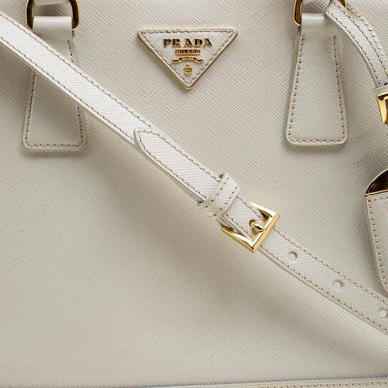 d35c32fb43c9 Prada Off White Saffiano Lux Leather Promenade Tote For Sale 1