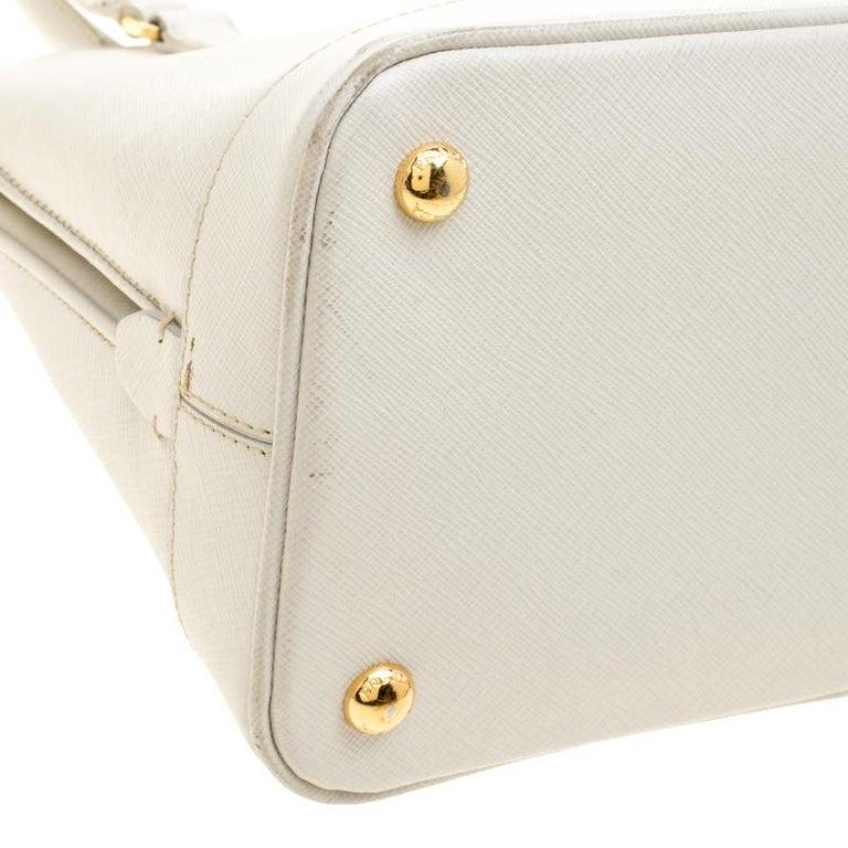 26ce9775bc3c Prada Off White Saffiano Lux Leather Promenade Tote For Sale 7
