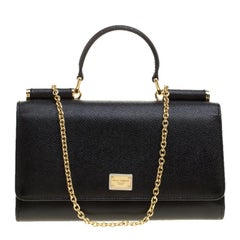 Dolce and Gabbana Black Leather Disco Clutch
