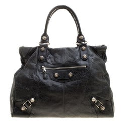 Balenciaga Black Leather GSH Brief Tote