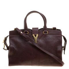 Saint Laurent Paris Burgundy Leather Small Cabas Chyc Tote