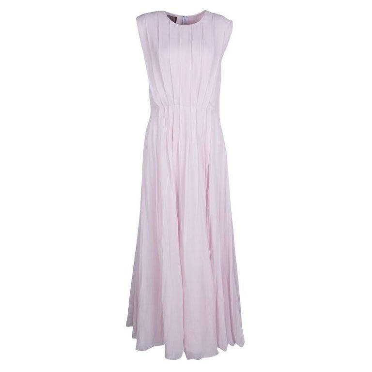 30b9b291b3d1 Giambattista Valli Blush Pink Silk Chiffon Sleeveless Maxi Dress M For Sale