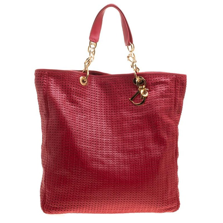 05bf7147e346 Dior Red Woven Leather Large Soft Lady Dior Tote at 1stdibs